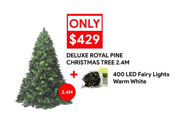 ON SALE: 2.4 Deluxe Royal Pine + 400 LED Fairy Lights Warm White