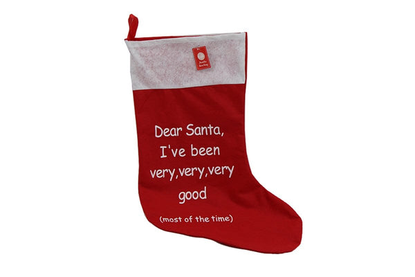 Jumbo Santa Stocking Felt - Printed - Christmas World
