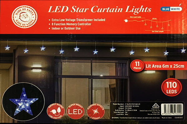 NEW ARRIVAL: LED Star Curtain Lights 11pc White-Blue