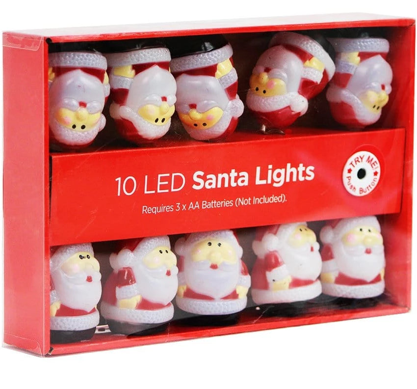 10 LED Santa Lights: Battery Operated - Christmas World