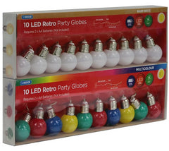 10 LED Retro Party Globes: Battery Operated - Christmas World