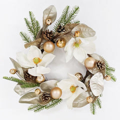 WHITE MANOLIA CHAMPANGE LEAVES WREATH