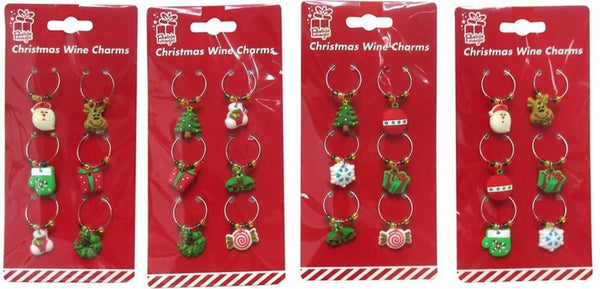 XMAS WINE CHARMS PVC 6pc