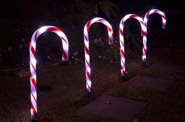 Solar LED Path Candy Canes 4 pack - Christmas World