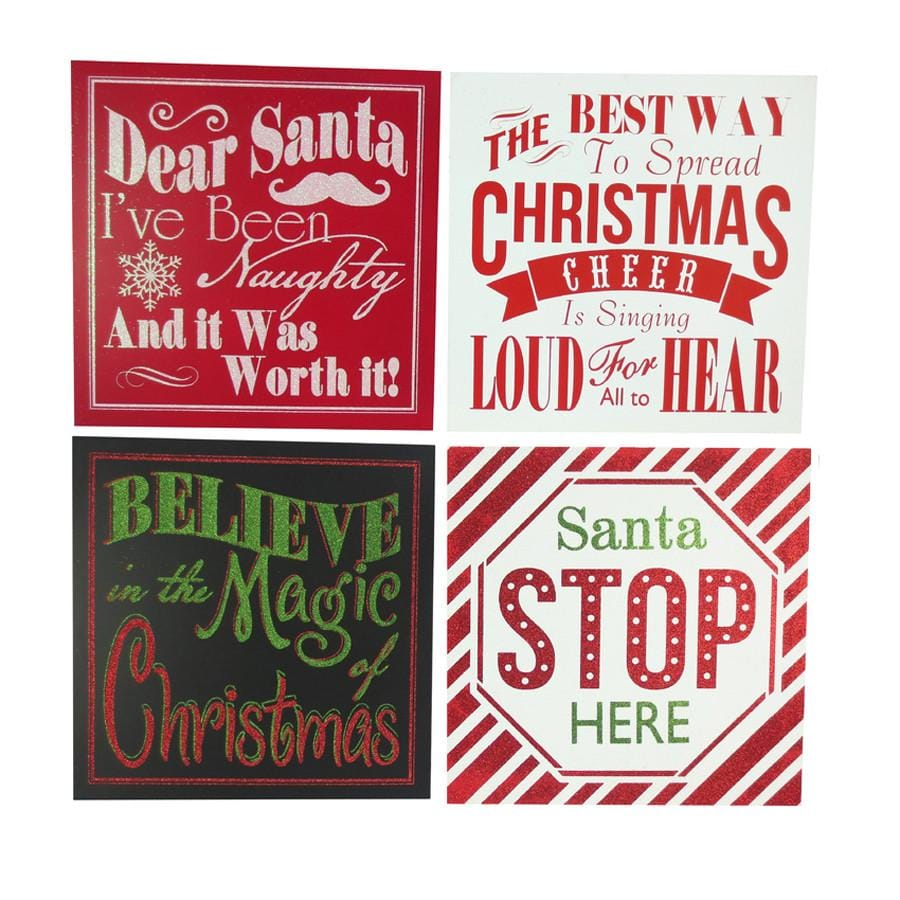 Retro Sign Mdf Block 30cm - Christmas World