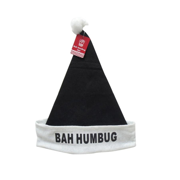 Bah Humbug Hat 39cm Felt Black - Christmas World