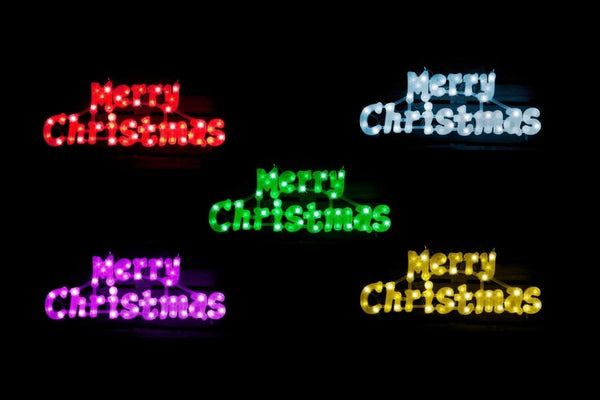 LED Merry Christmas Sign: Color Changing Lights - Christmas World