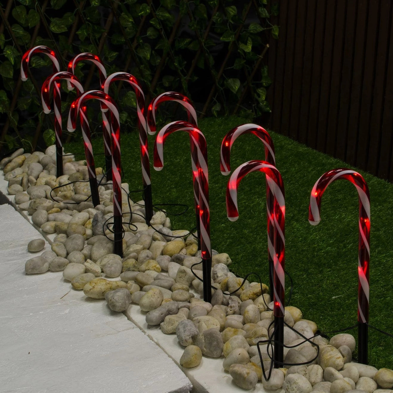 Solar LED Path Candy Canes 8pack - Christmas World
