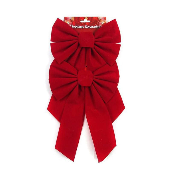 Red Flocked Bows Tree Topper 2 Pieces 35x23cm - Christmas World