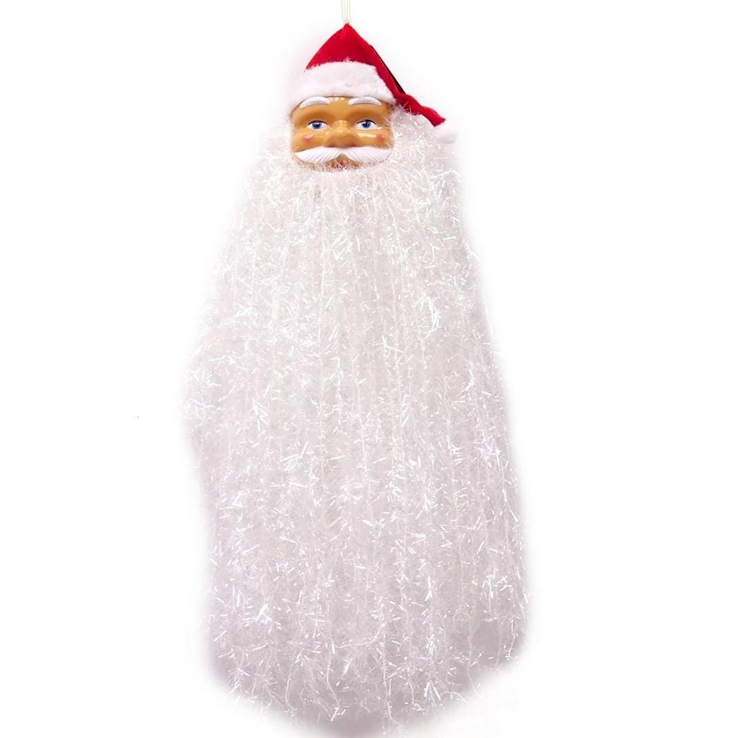 Hanging Santa with Long Tinsel Beard