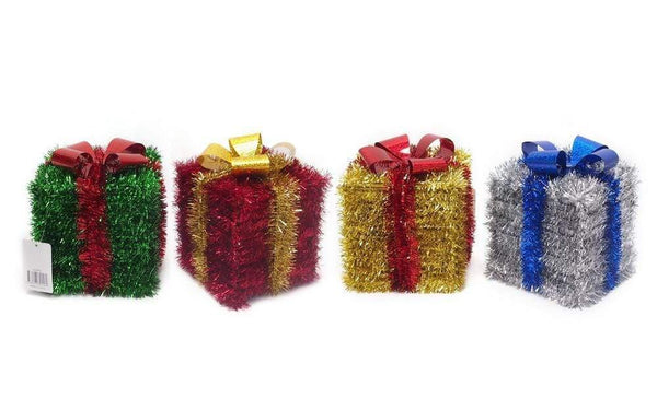 TINSEL PRESENT 3D WITH BOW AVAILABLE IN 4 COLORS