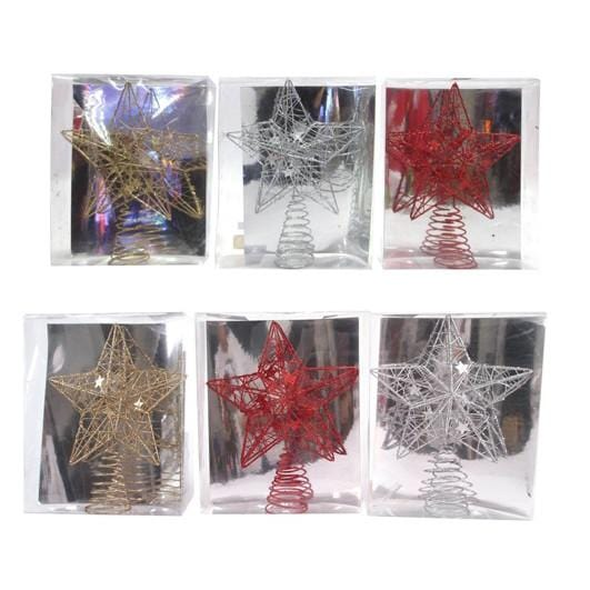 Star Topper Glitter Wire 25cm PVC Box - Christmas World