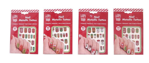 XMAS TATTOO NAILS 40PC 4ASST