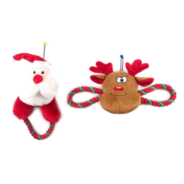 Dog Toy Plush with Rope Squeaky - Christmas World