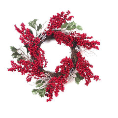 Christmas Berry Wreath 45cm With Holly/Icicles - Christmas World