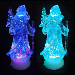 LED Swirling Glitter Santa Colour Change - Christmas World