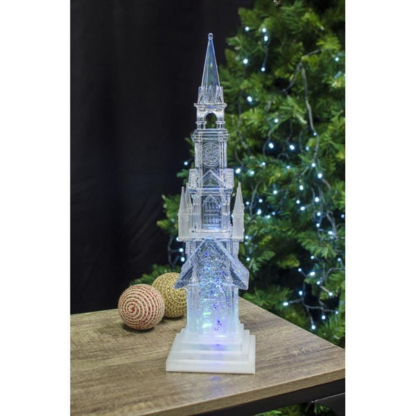LED Swirling Glitter Church 44cm - Christmas World
