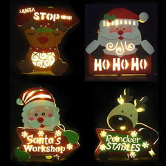 MDF Hanging LED Plaque - Christmas World