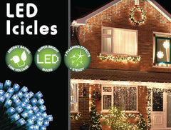 180 LED Icicle Lights 3.5M - Blue - Christmas World