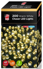 LEDS 200 FLASHING CHASER LIGHTS WARM WHITE