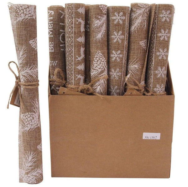 BURLAP PLACEMAT 29x45cm WHITE PRINTED - Christmas World