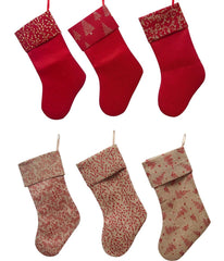 BURLAP STOCKING 45CM GLITT PATTERN - Christmas World