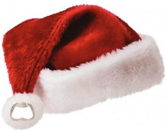 PLUSH SANTA HAT BOTTLE OPENER POM POM