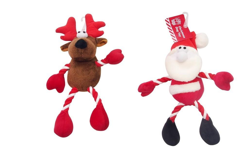 DOG TOY PLUSH WITH ROPE 25cm 2ASST REINDEER/SANTA - Christmas World