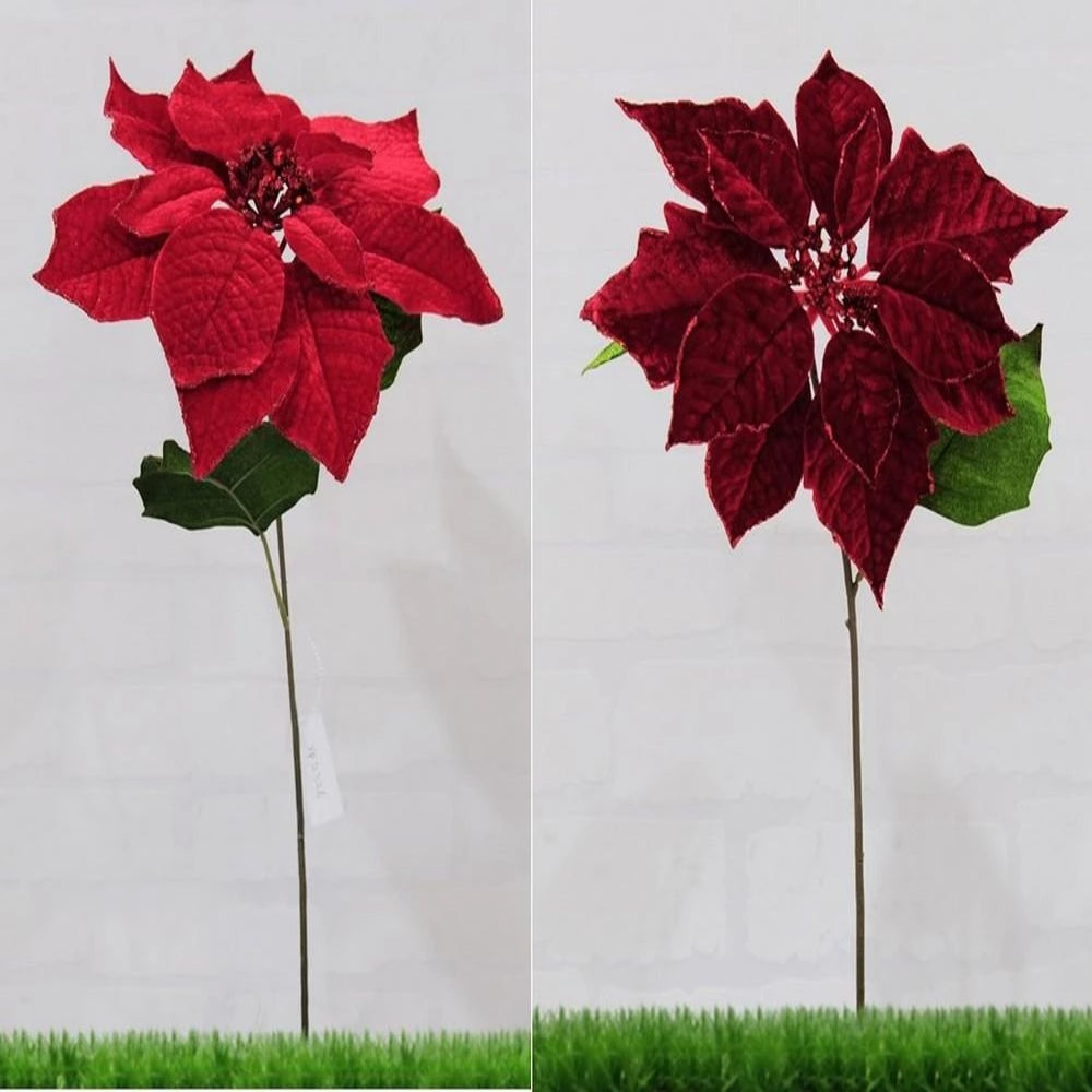 POINSETTIA STEM RED/BURGUNDY DELUXE 50cm