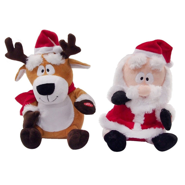 Dancing Reindeer and Santa with Plush Eyebrows