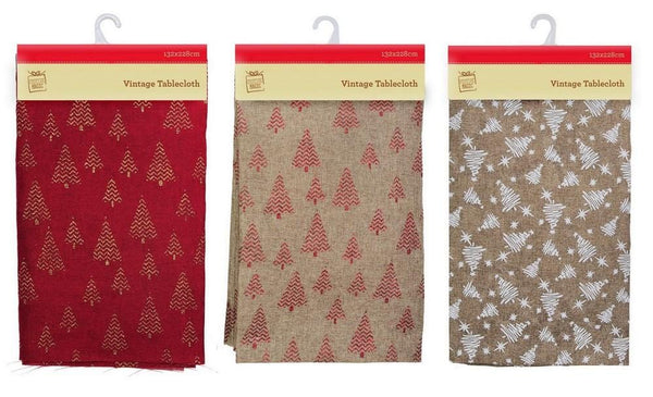 VINTAGE TABLECLOTH CHRISTMAS TREES 132x228cm