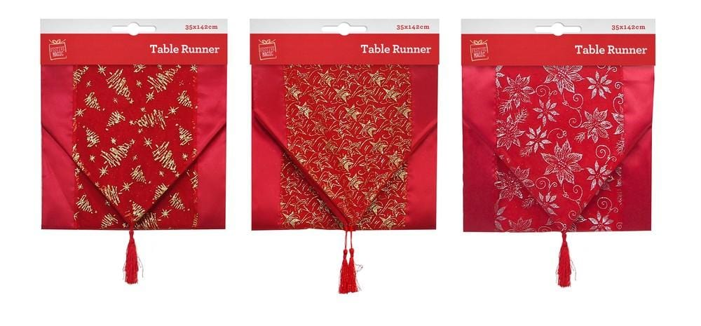 RED SATEEN RUNNER WITH GLITTER 142x35cm