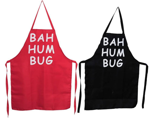 BAH HUM BAH APRON POLYESTER Red or Black - Christmas World