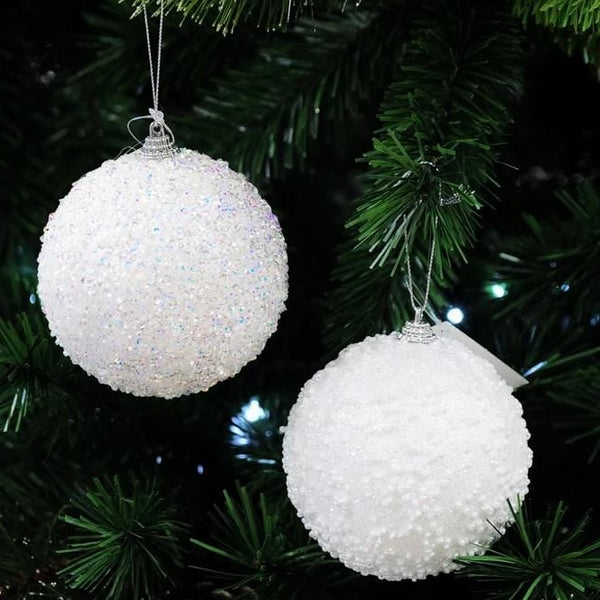 GLITTER DECO SNOW BAUBLE 10cm - Christmas World