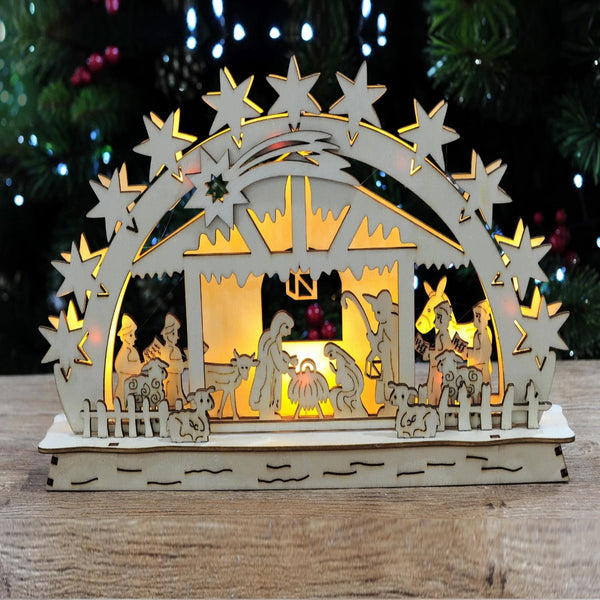 LED Light Up Nativity Scene