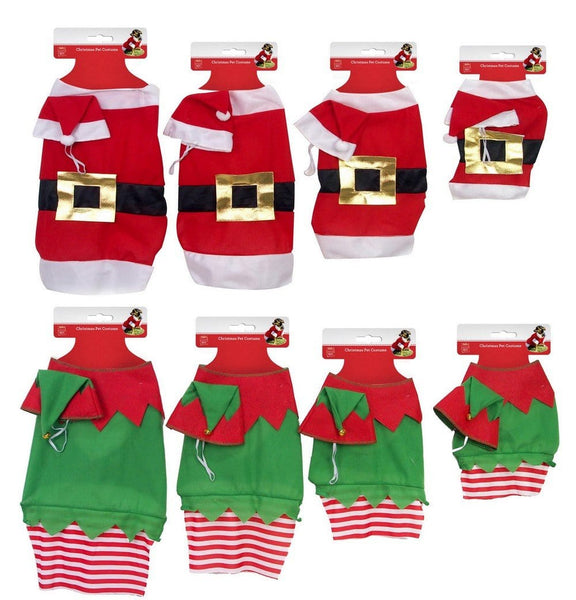DOG COSTUME 2pc Set SANTA/ELF Available in 3 Sizes - Christmas World