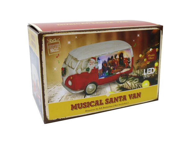 Musical LED Santa Van with Village