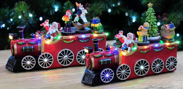 LED MUSICAL SANTA'S PRESENTS TRAIN 24cm Battery Operated