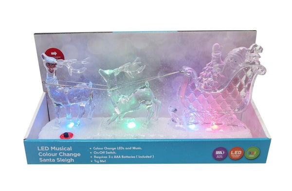 LED MUSICAL SANTA REINDEER SLEIGH COLOR Changing