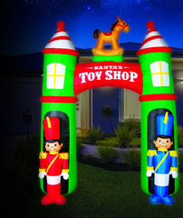 BACK IN STOCK: WON'T LAST LONG: AIRPOWER TOY SHOP ARCH WITH 2 SOLDIERS 2.7m Height - Christmas World