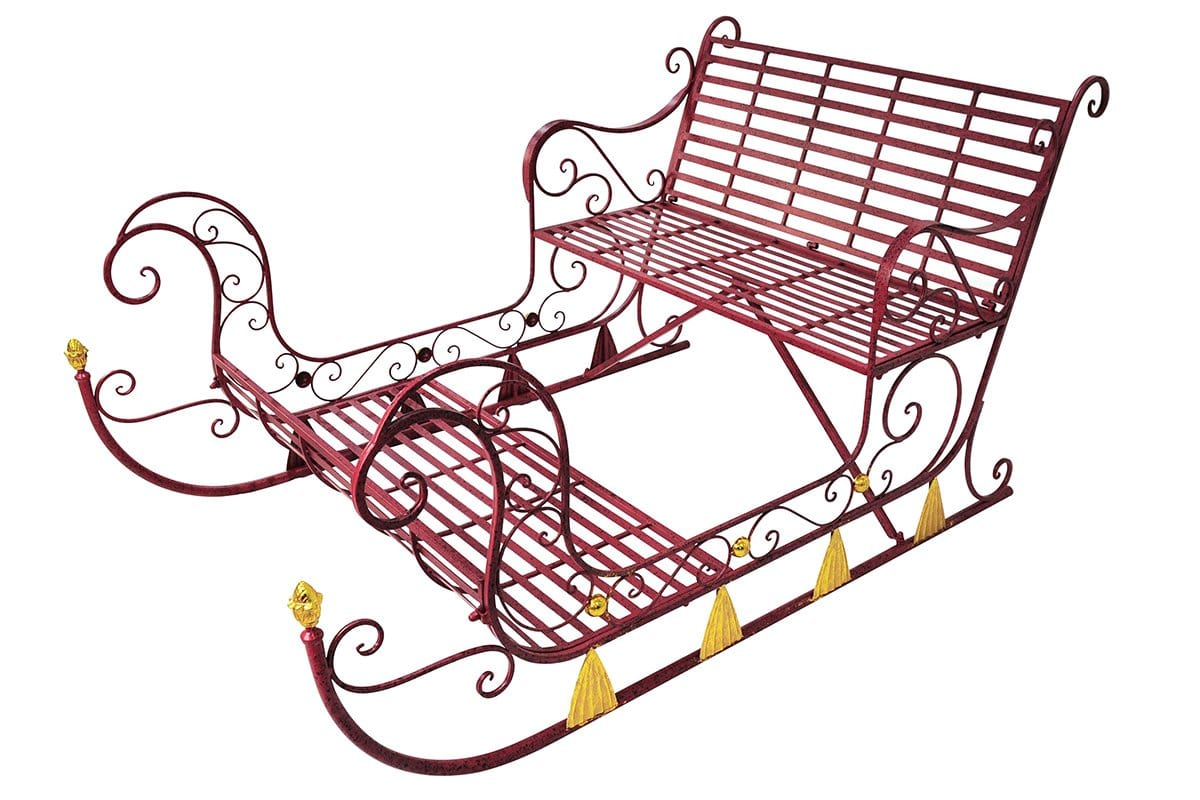 RUSTIC SLEIGH IRON 180cm RED
