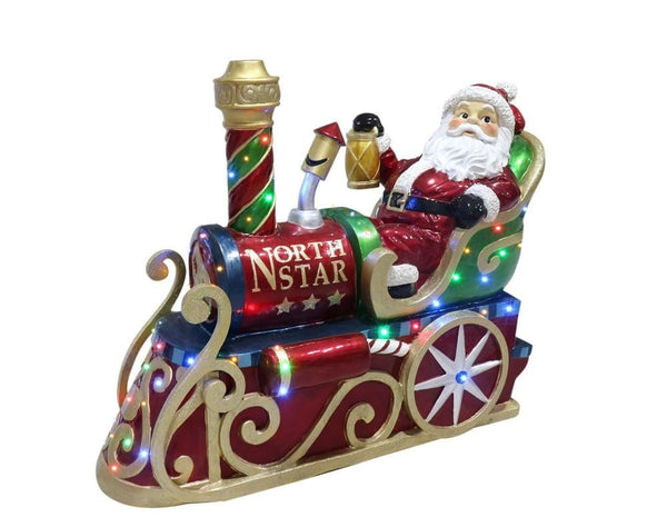 POLY SANTA ON TRAIN WITH LED LIGHTS 122cm