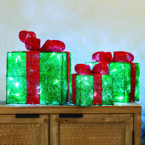 LED Presents - 3pc - Green and Red