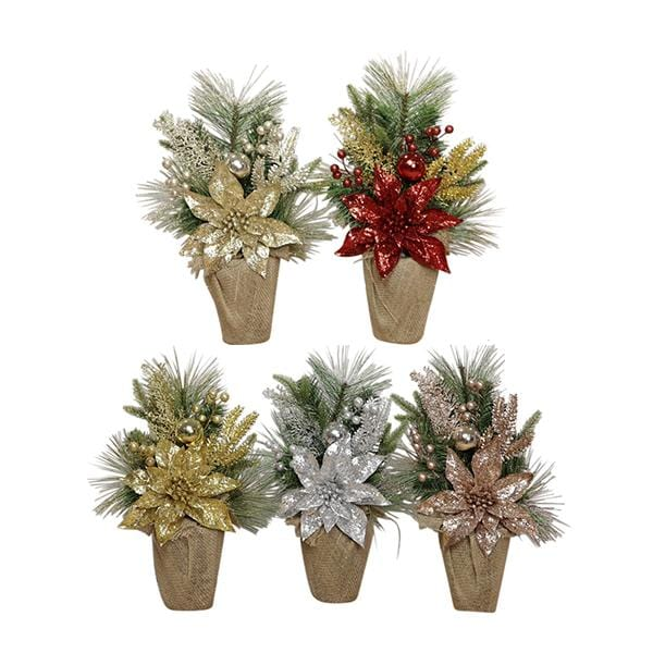 Table Christmas Tree with Poinsettia - 45cm