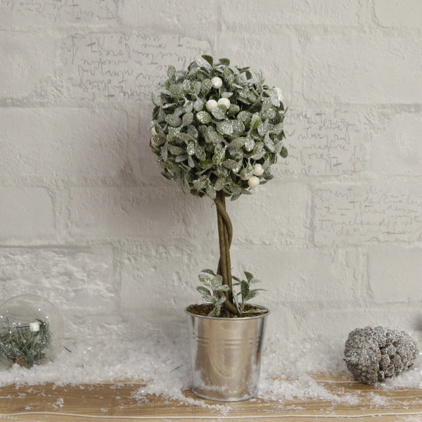 Snowy Mistletoe Ball in Bucket Pot - 32cm