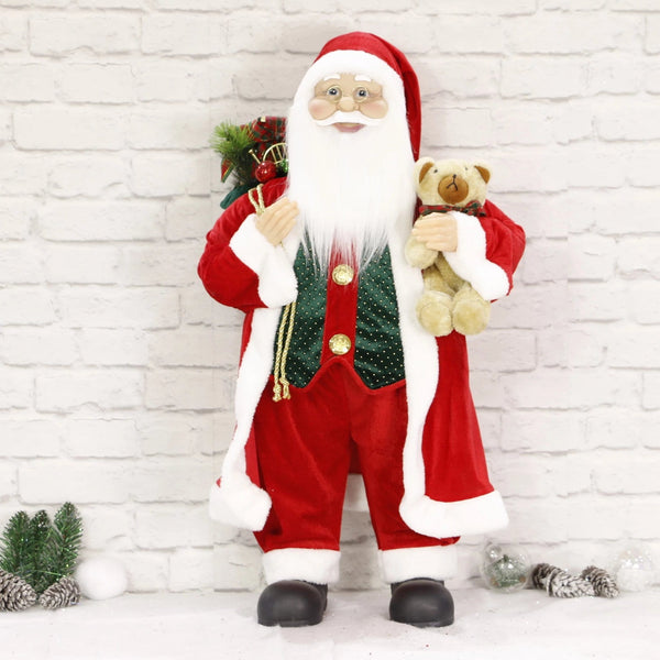 Light-Up Musical Santa and Bear - 80cm