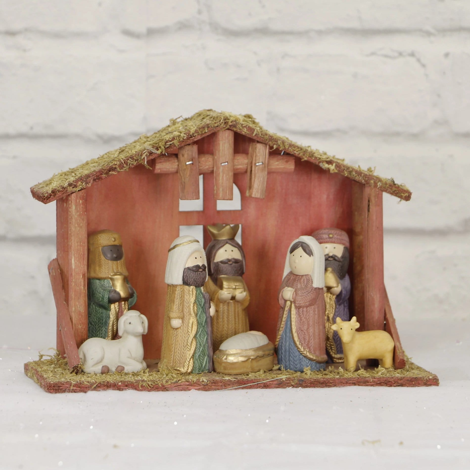 Porcelain Nativity Scene - 9pc