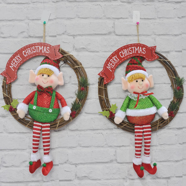 Plush Elf Wreath