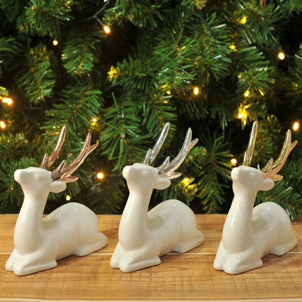 Sitting Glazed Reindeer Deco