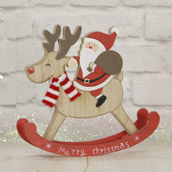 Santa Riding Rocking Reindeer - 24cm